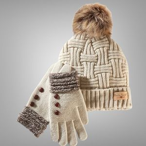Britt Knit Hat and Gloves Brown/Oat One Size